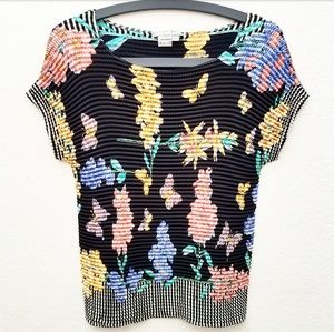 Alberto Makali Butterfly Floral Short Sleeve Top